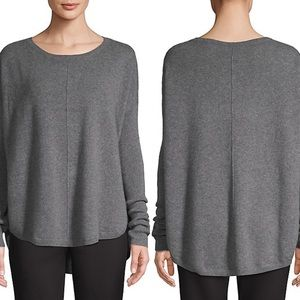 Lord Taylor Curved Hem 100% Cashmere Sweater Grey